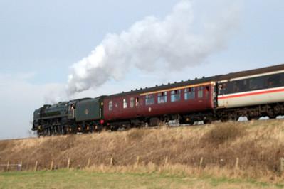 71000 Duke of Gloucester at Saltcoats, heading for Carlisle, 09/02/08.