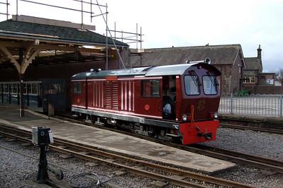 Douglas Ferreira prepares to depart Ravenglass with the first train of the 2008 operating season, 02/02/08.