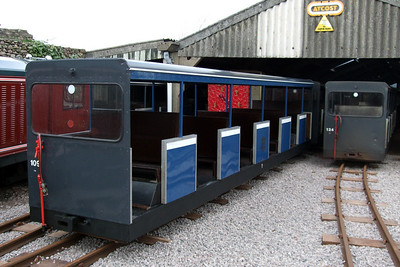 Newly-repainted semi-open coach 109 outside Ravenglass carriage shed, 02/02/08.