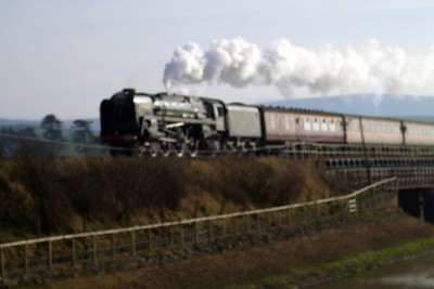"""71000 Duke of Gloucester thunders across the River Mite viaduct at Ravenglass with The Cumbrian Coast Express... only included as a record shot and """"what might have been"""", if it had been in-focus. :-( 09/02/08."""