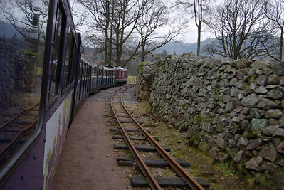 Douglas Ferreira arrives at Dalegarth, as seen from the guard's van, 14/02/09.