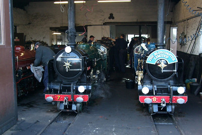 The Romney Pacifics poke out of the engine shed.  02/05/08.