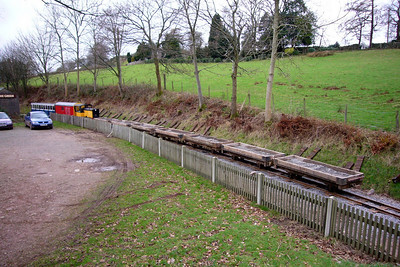 Perkins and a p-way train sit at Eskdale Green, 20/01/07.