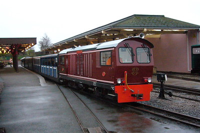 Douglas Ferreira at Ravenglass with the final working of the 2006 operating season, the 1500 up train, 03/01/07.