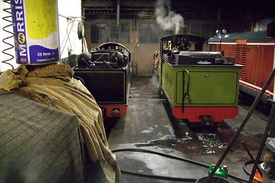 River Mite (under blankets), River Esk, Northern Rock and Douglas Ferreira in Ravenglass engine shed, 03/01/08.