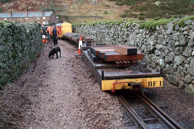 Permanent way workings at Dalegarth - relaying the station throat, 17/01/09.