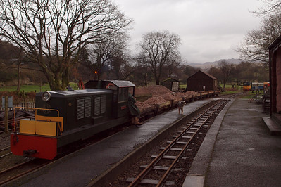 Lady Wakefield and the ballast train at Irton Road, with Perkins and the other p-way train beyond. 22/01/12.