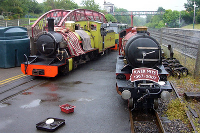 Shelagh of Eskdale propels Northern Rock into the workshops as River Mite, undergoing test runs on the headshunt, sits alongside, 13/07/07.