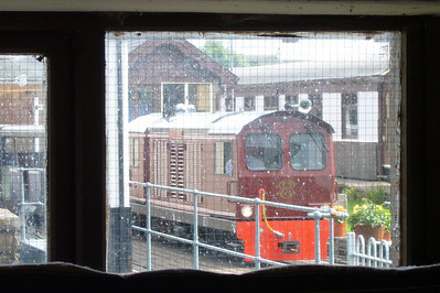 A different view... Douglas Ferreira leaving Ravenglass, seen from the back window of the engine shed, 09/07/07.