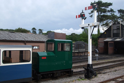 Cyril sits under the signals (27 and 28) at Ravenglass, 05/07/08.