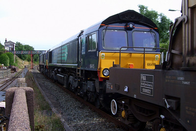 66415 behind 66427 at Ravenglass, 16/07/09.