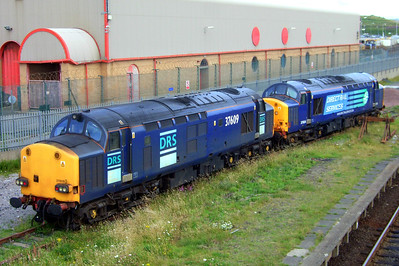 37609 and 37604 in the sidings at Sellafield, 14/07/09.