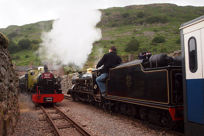 Northern Rock and River Esk pass between the walls at Dalegarth, providing a rare (and rather odd) sight. 08/07/11.