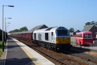 67029 heads south to Barrow through Ravenglass with the Three Peaks empty coaching stock from Sellafield, 08/06/07.