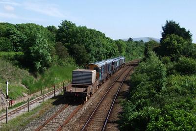 66420, 66429, 20301 Max Joule and 20305 work 6K73 Sellafield - Crewe Coal Sidings through Ravenglass, 04/06/08.
