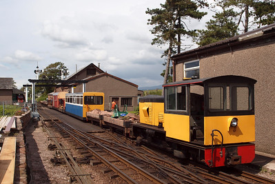 Perkins shunts the permanent way train at Ravenglass. 10/06/11.
