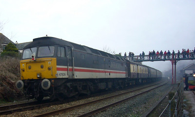 47826 Springburn on the rear of 71000's charter at Ravenglass, 10/03/07.