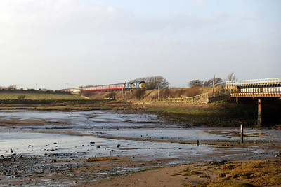 What turned out to be a bonny afternoon - 37667 and 37688 Kingmoor TMD head Spitfire Railtours' Cumbrian Coast Explorer from Carlisle to Birmingham International towards Ravenglass, seen on the Saltcoats side of the River Mite estuary, approaching the viaduct, 08/03/08.