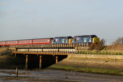 37667 and 37688 with The Cumbrian Coast Explorer at Ravenglass, 08/03/08.
