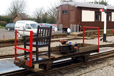 "Wagon I, the rail-bender and weed-killer, in its ""electric chair"" form, sits at Ravenglass, 08/03/08."