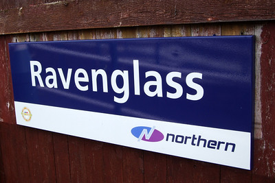Northern Rail's corporate branded station signage at Ravenglass, 15/03/08.