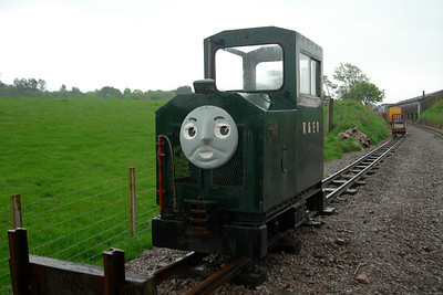 "Cyril, sans roof, sits at the end of the headshunt at Ravenglass, still bearing a face from the ""Thomas"" event the day before, 15/05/06."