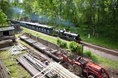 River Esk passes the permanent way depot at Murthwaite, 27/05/06.