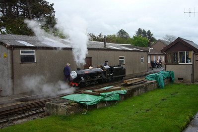 "River Esk, ""Rex"", reverses onto her train at Ravenglass during the May 2007 Day out with Thomas event, 12/05/07."
