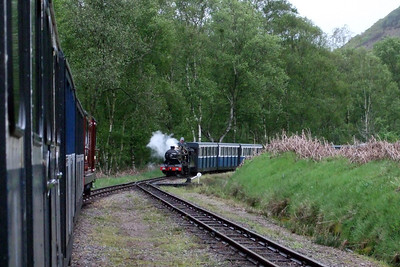 Douglas Ferreira sits in Miteside loop as River Esk arrives with a down train, 04/05/09.