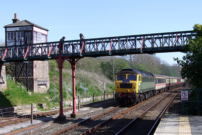47851 Traction Magazine brings up the rear of the Railtourer charter at Ravenglass, 02/05/09.