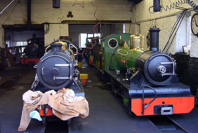 Bonnie Dundee, River Esk, Northern Rock and River Irt share Ravenglass engine shed, 03/11/07.