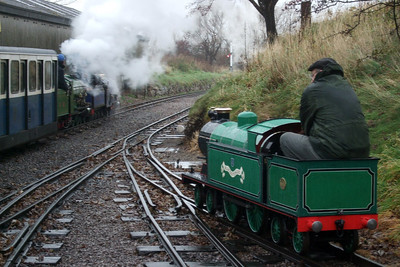 Dr Bob Tebb sits aboard his loco, Blacolvesley, as Count Louis and Synolda depart Ravenglass, 08/11/08.