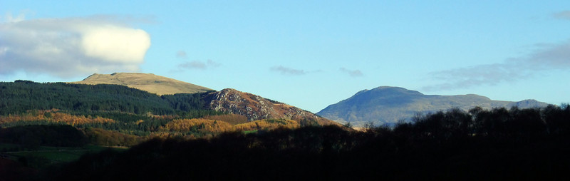 Whin Rigg and Scafell on the skyline of Miterdale, 11/11/09.