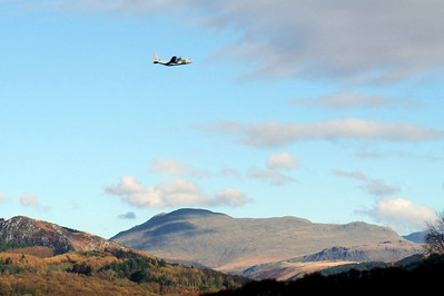 Rather appropriate, on Armistice Day, two RAF Hercules transporter planes flew over our worksite, seen here with Scafell in the background. They were two and a half hours late for our minute's silence though.