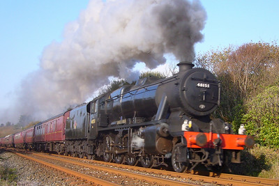 48151 Gauge O Guild heads for Carnforth with the return charter from Ravenglass, seen at Walls Bridge, 20/10/07.