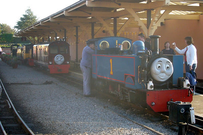 Wroxham Broad, Douglas Ferreira, Perkins, Shelagh of Eskdale and Cyril line up in Platform 2 during the autumn Day out with Thomas event, 06/10/07.