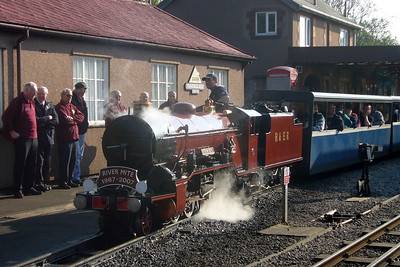 River Mite prepares to depart Ravenglass with a train full of railtour passengers, 20/10/07.