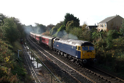 47839 Pegasus heads north through Ravenglass on a Compass Tour, 08/10/08.