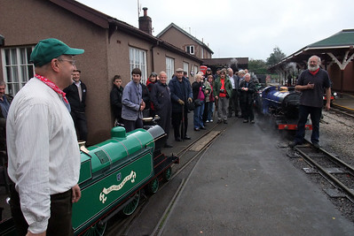 Dr Bob Tebb (left) and Peter van Zeller (right) welcome the members of the Heywood Society to Ravenglass, beside Blacolvesley and Synolda, 10/10/09.