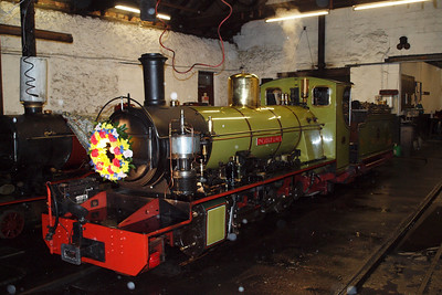 Northern Rock, still carrying her wreath, in the engine shed at Ravenglass. 08/10/11.