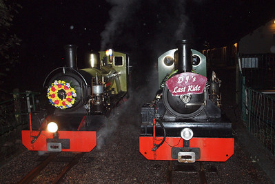 Northern Rock and River Irt sit side by side on the bridge at Dalegarth in the dark. Rock would then work back to Ravenglass light engine, with Irt following later with the train. 08/10/11.