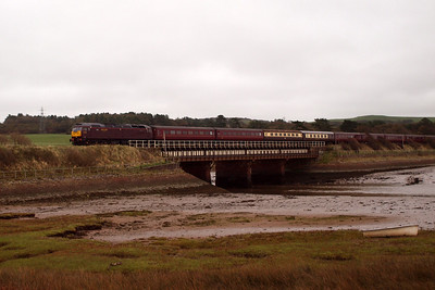 47854, newly returned to traffic after fire damage repairs, leads a Stevenage - Carlisle railtour over the Mite viaduct at Ravenglass, heading north. 08/10/11.