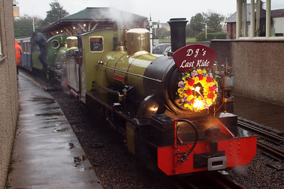 The memorial train sits in Platform 1 at Ravenglass. 08/10/11.