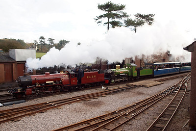 River Mite and River Irt get the heavy half-term train underway, departing Ravenglass, 29/10/12.