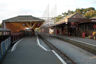 Ravenglass station, with the first erection of scaffolding for repair work to the Platform 2/3 awning, 08/09/07.