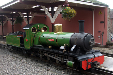 River Irt sits under a hanging basket in Platform 2 at Ravenglass, on test after her overhaul, 06/09/08.