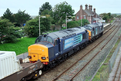 37218 and 37038 on 6C53 heading for Sellafield at Ravenglass, 05/09/09