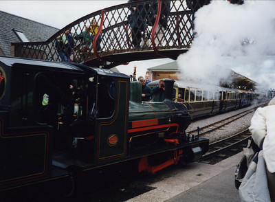 Bonnie Dundee runs round its set of maxi coaches at Ravenglass.