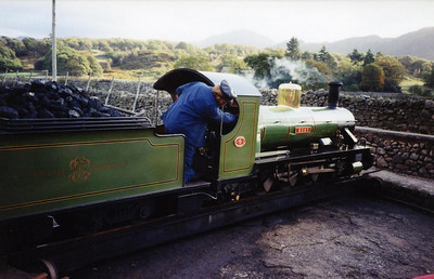River Irt having arrived at Dalegarth, driver Martin Willey on the footplate.
