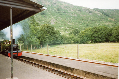 "River Irt arrives at Dalegarth, with the old ""cattle shed"" shelter in place."